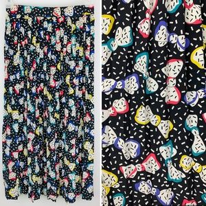 VTG Chaus Multi-Color Bow Print Pleated Maxi Skirt